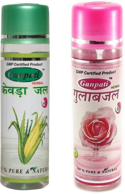 Ganpati Herbal Kewra Water 100ml & Rose Water Combo pack