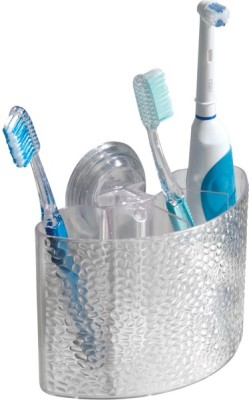 Interdesign InterDesign Rain Power Lock Suction Toothbrush Center, Clear Plastic Toothbrush Holder