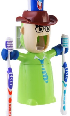 Goodbuy Warrior Automatic Toothpaste Dispenser and Brushing Cup Set,& Cowboy Design Plastic Toothbrush Holder