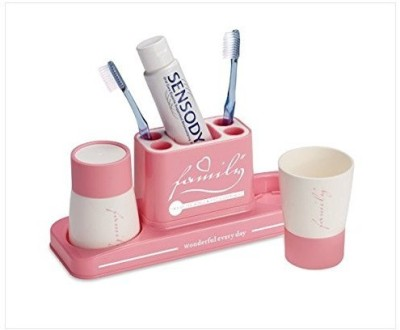 Swarish Set with 2 Family Toothpaste Cup Plastic Toothbrush Holder