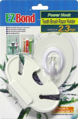 EZBond Power Hook Polypropylene Toothbrush Holder