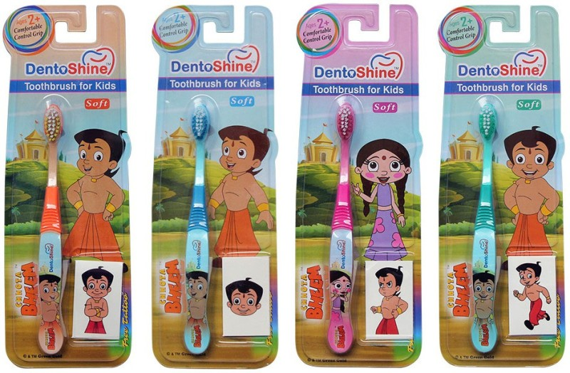 DentoShine Toothbrush for Kids - Pack of 4 Designs(Multicolor)