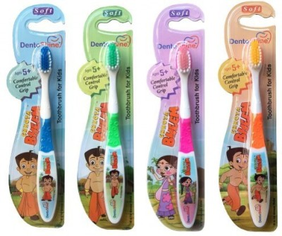 DentoShine Toothbrush for Kids - Pack of 4 Designs - Ages 5+