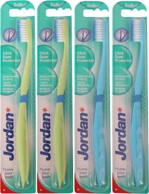 Jordan Kids Click Gum Protector Soft Toothbrush Pack of Four - 5(Green, Light Blue)