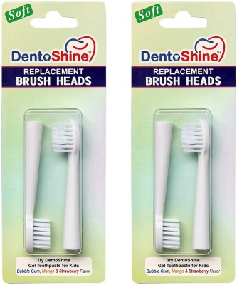 DentoShine Replacement Brush Heads (4 count) compatible with DentoShine Sonic Toothbrush for Kids