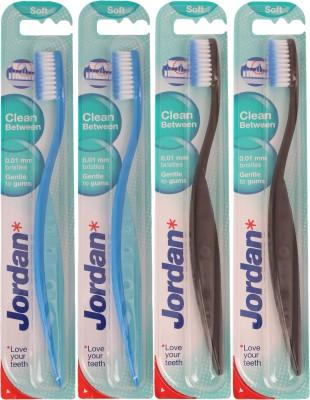 Jordan Kids Clean Between Soft Toothbrush Pack of Four - 3(Blue, Black)