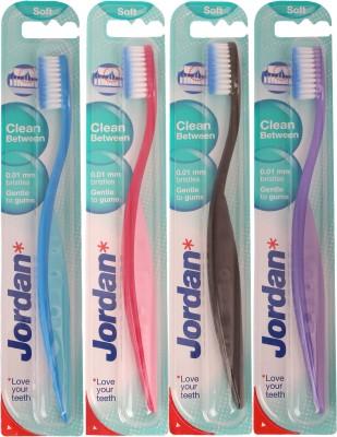 Jordan Kids Clean Between Soft Toothbrush Pack of Four - 1(Blue, Red, Black, Purple)