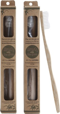 Brush With Bamboo Eco Friendly Toothbrush - Pack of 2
