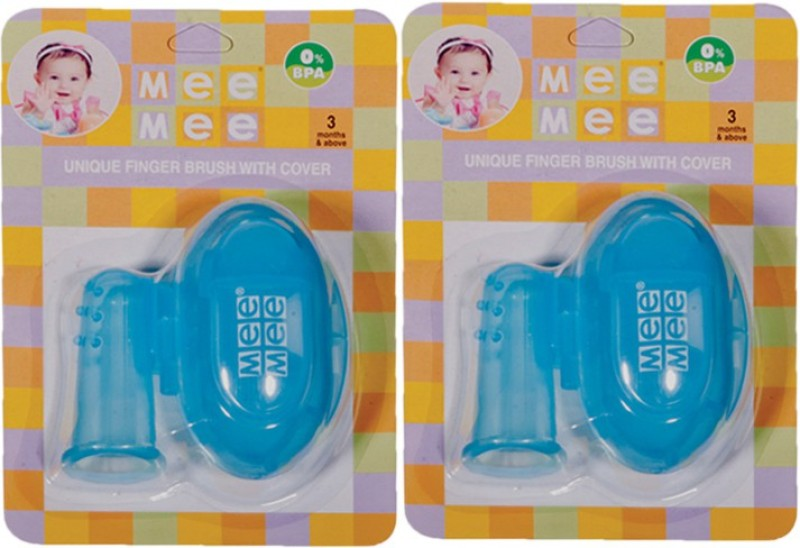 Mee Mee Unique Finger Brush With Cover(Blue)