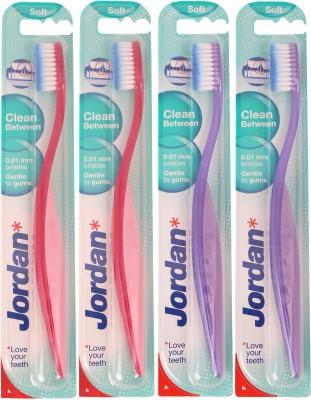Jordan Kids Clean Between Soft Toothbrush Pack of Four - 6(Red, Purple)