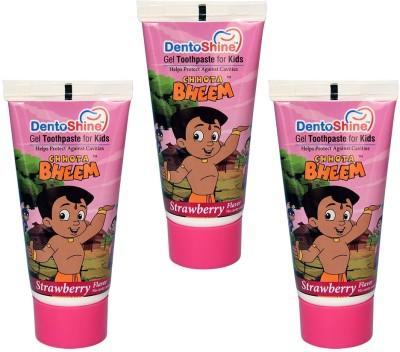 DentoShine Gel Toothpaste for Kids - Strawberry Flavor (Pack of 3) Strawberry Toothpaste