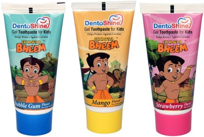 DentoShine Gel Toothpaste for Kids - Pack of 3 Flavors (Strawberry, Mango & Bubble Gum) Strawberry, Mango & Bubble Gum Toothpaste