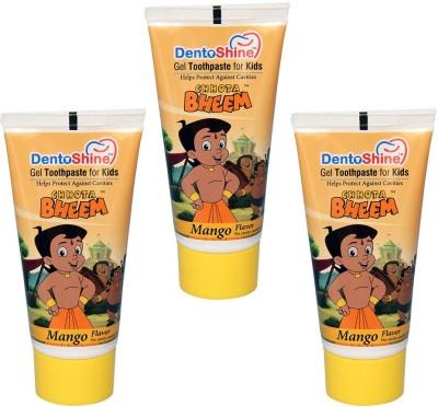 DentoShine Gel Toothpaste for Kids - Mango Flavor (Pack of 3) Mango Toothpaste