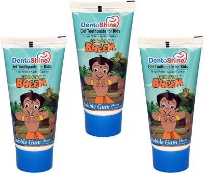DentoShine Gel Toothpaste for Kids - Bubble Gum Flavor (Pack of 3) Bubble Gum Toothpaste