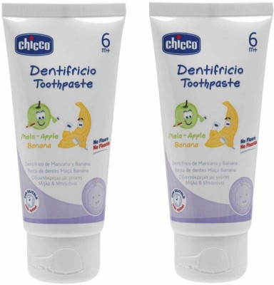 Chicco Mela-Apple Banana 6m+ 50 Ml(Pack of 2) Apple, Banan Toothpaste(100 ml)