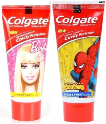 Colgate Kids - Spiderman (Bubble Fruit Flavour-1 pack) + Barbie (Strawberry flavour- 1 pack) Mild Bubblefruit , mild strawberry Toothpaste(160 g)