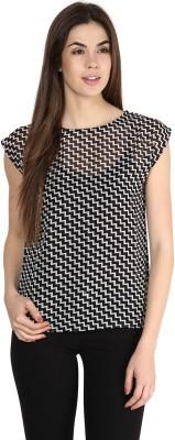 La Zoire Casual Short Sleeve Geometric Print Women's Black, White Top