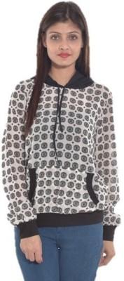 Entease Casual Full Sleeve Printed Women's Black Top