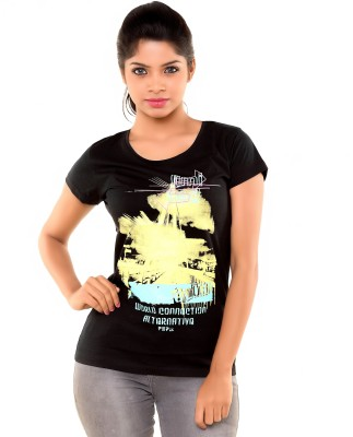 PEP18 Casual Short Sleeve Graphic Print Women's Black, Yellow Top