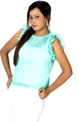 TrendBAE Party Sleeveless Solid Women's Blue Top