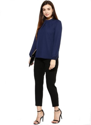 Archini Casual, Party, Formal Full Sleeve Solid Women's Dark Blue Top