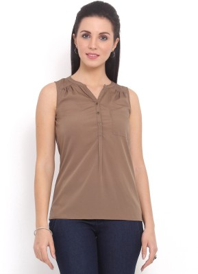 Trend Arrest Casual Sleeveless Solid Women's Brown Top