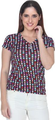 Fast n Fashion Casual Short Sleeve Geometric Print Women's Multicolor Top