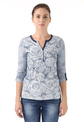 Monte Carlo Casual 3/4 Sleeve Floral Print Women's Light Blue Top