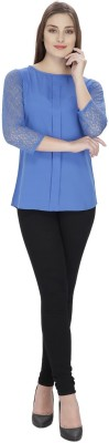 Pops N Pearls Casual 3/4 Sleeve Solid Women's Blue Top