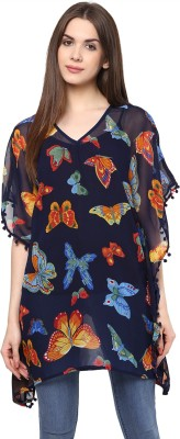 color cocktail Casual Short Sleeve Printed Women's Blue Top