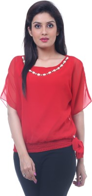 Lynda Party Kimono Sleeve Solid Women's Red Top