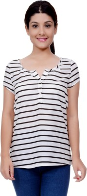 Lamora Casual Short Sleeve Striped Women's White Top