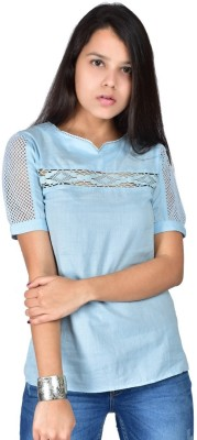 Palette Casual Short Sleeve Solid Women's Blue Top