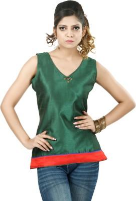 Shabari Formal Sleeveless Solid Women's Green Top