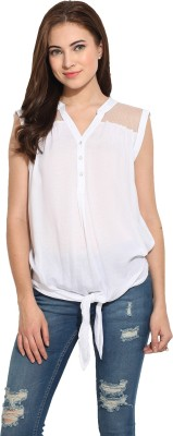 Free & Young Casual Cap sleeve Solid Women's White Top
