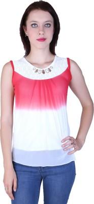 Zavi Casual Sleeveless Solid Women's Red, White Top