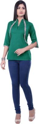 Rene Casual 3/4 Sleeve Solid Women's Green Top