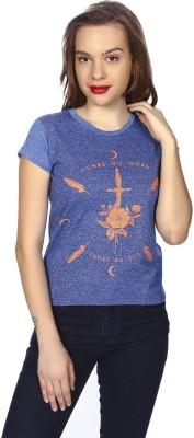 karney Casual Short Sleeve Printed Women's Blue Top
