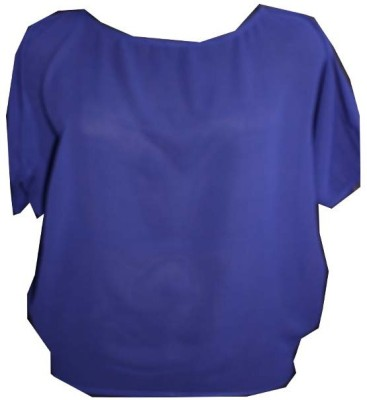 SAP Casual Short Sleeve Solid Women's Blue Top