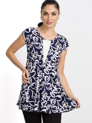 B Kind Casual Short Sleeve Printed Women's Dark Blue Top