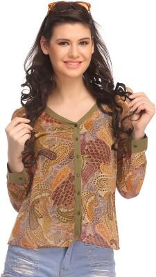 Clovia Casual Full Sleeve Printed Women's Green Top