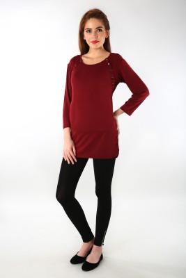 MOMZJOY Casual, Party, Formal, Lounge Wear 3/4 Sleeve Solid Women's Maroon Top