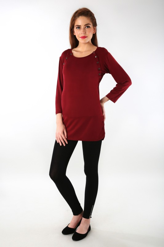 MOMZJOY Casual 3/4th Sleeve Solid Women's Maroon Top