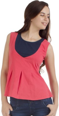 Veakupia Casual Sleeveless Solid Women's Pink Top at flipkart