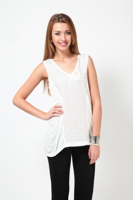Rena Love Casual Sleeveless Solid Women's White Top
