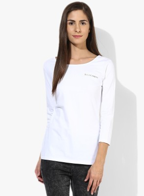 T-shirt Company Casual 3/4 Sleeve Solid Women's White Top