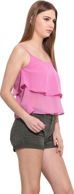 Desi Urban Casual Sleeveless Printed Women's Pink Top