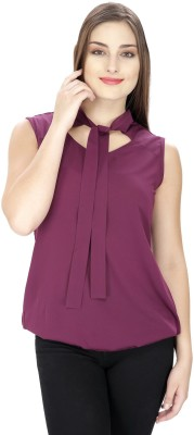 Pops N Pearls Casual Sleeveless Solid Women's Maroon Top