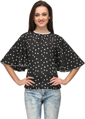 Vemero Clothings Casual Bell Sleeve Polka Print Women's Black Top