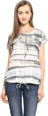 Free & Young Casual Short Sleeve Printed Women's White, Black Top